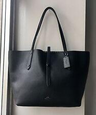 NWT Coach Black Pebble Leather SKULL BANDANA Print Interior MARKET TOTE Bag $375