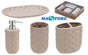 Set accessori bagno da appoggio 4pz in ceramica colore tortora con confezione ebay - Set accessori bagno da appoggio ...