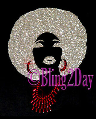 Afro Lady - Silver Glitter Vinyl Hair- Iron on Rhinestone Transfer Hot Fix Bling