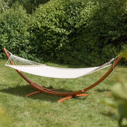 415 cm XXL Hängematte mit Gestell Holz Gartenliege Sonnenliege Gartenmöbel Liege