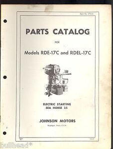 1955 Johnson Sea Horse 25hp Outboard Parts Manual Rde 17c Rdel