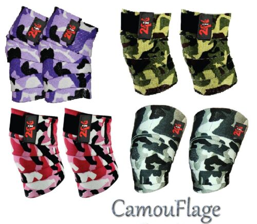 2Fit KNEE WRAPS CAMO LIFTING BANDAGE STRAP GUARD POWER LIFTING PAD CAMO