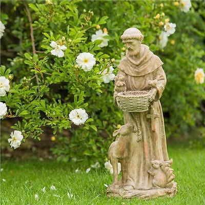 New In Box 52cm Saint Francis Animal Garden Statue Resin Bird Bath Ornament