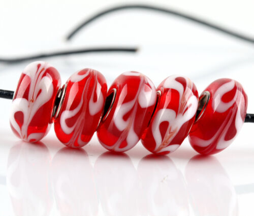 5 Pcs Silver Murano Glass Bead Fit European Charm Bracelet Jewelry Making Beads