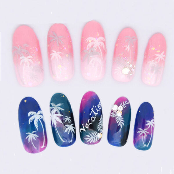 1 Sheet Coconut Palm Tree 3D Nail Art Stickers Decals Manicure Decoration DIY