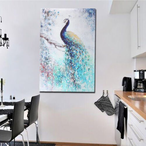 Unframed Canvas Print Peacock Wall Art Modern Abstract Picture Room Home Decor
