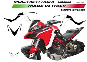 Details About Stickers Kit For Ducati Multistrada 1260 Design Customized White Black