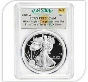 2020-W-PGCS-PR-70-DCAM-Congratulations-Silver-Eagle-First-Day-of-Issue-Fun-Show