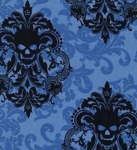 Michael-Miller-Gothic-Black-Damask-Skulls-on-Blue-Cotton-Fabric-FQ