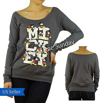 Disney Playful Mickey Mouse Gray Cut Off Scoop Neck Sweatshirt Pullover Top