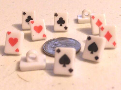 """Poker Naipes Diseño Botones de vástago de plástico 3//8/"""" X 5//16/"""" 708 10 X 8 MM"""