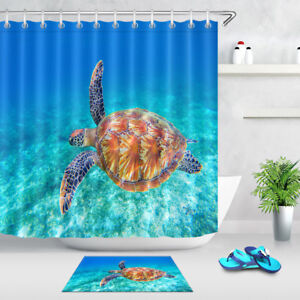 Image Is Loading Bathroom Decor Sea Turtle Waterproof Fabric Shower Curtain