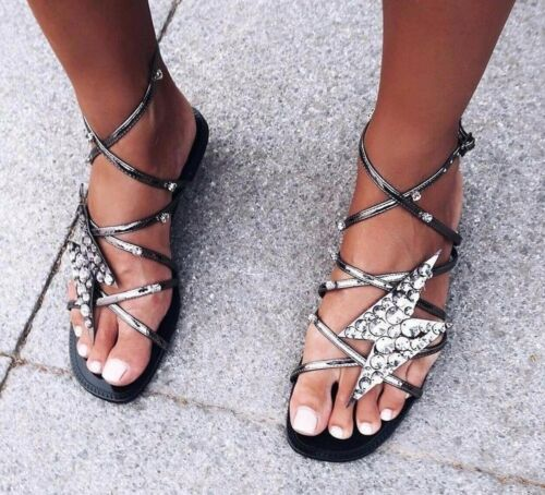 Beaded 7 Uk Us Lightning 5 Sandals 5 Silver 38 With Zara Eu Detail Metallic SZTZwq