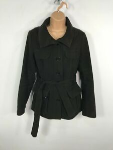 WOMENS-H-amp-M-BLACK-BUTTON-UP-SHORT-WINTER-OVERCOAT-JACKET-WITH-BELT-SIZE-UK-12