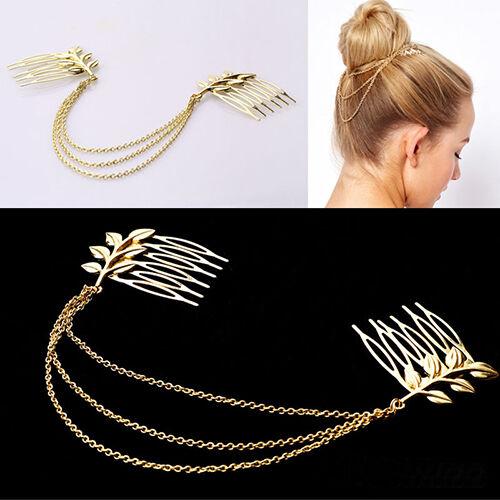 Hot Lady Girl Gold Metal Tassel Leaf Comb Cuff Chain Jewelry Headband Hair Band