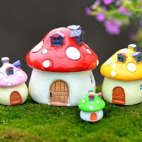 3 Size Mushroom Miniature Garden Ornaments DIY Crafts Pots Fairy Dollhouse Decor