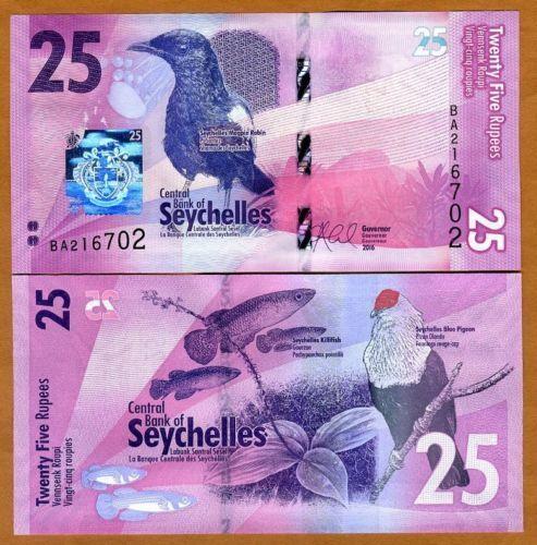Fish 25 rupees NEW: Seychelles 2016 UNC /> Birds P-New