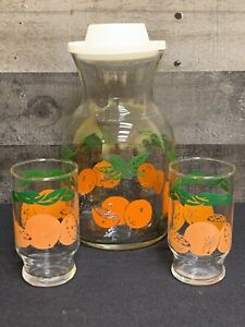 Vintage-Orange-Juice-Pitcher-Glass-Carafe-and-Small-Footed-Juice-Glasses
