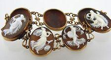 14k 585 Gold Shell Cameo Bracelet of 7 Dancing Goddess