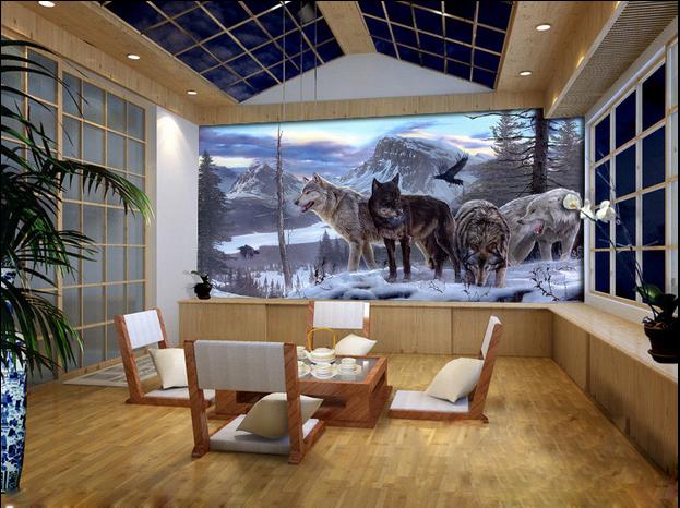 3D Wald Schnee Wolf 99 Tapete Wandgemälde Tapete Tapeten Bild Familie DE | Großer Räumungsverkauf  | Schön und charmant  | Haltbar