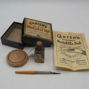 Antique-Carter-039-s-Household-Indelible-Ink-Fabric-Fountain-Pen-Set-w-Box