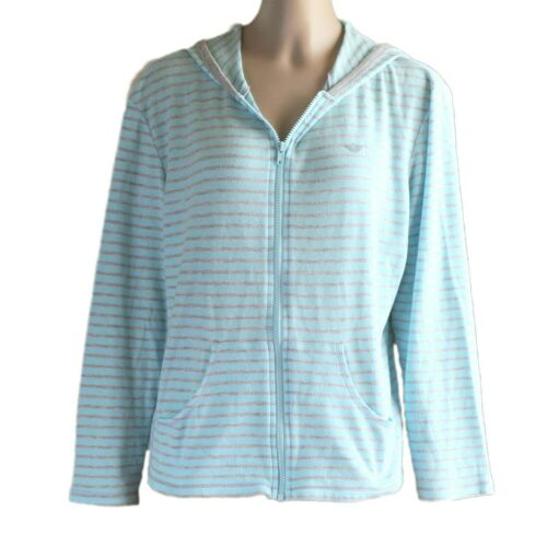Docker Womens Full Zip Hooded Top Blue and Grey St