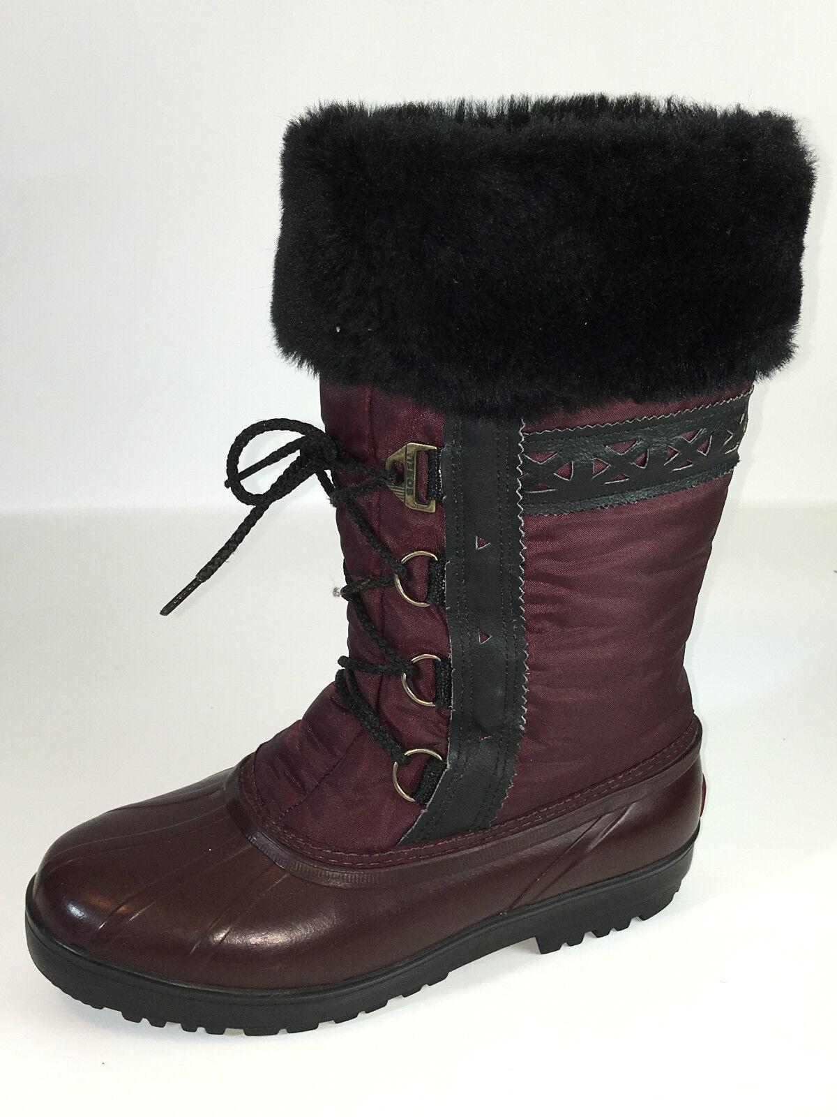 prezzi più bassi Sorel Lace Front Fur Fur Fur Cuff Rain Snow Donna  stivali Burgundy Dimensione 10 USA.  ordina ora i prezzi più bassi