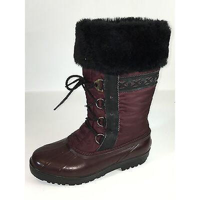 Sorel Lace Front Fur Cuff Rain Snow Women's Boots Burgundy Size 10 USA.