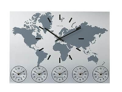 Karlsson Wall  Clock Aluminium World Time Piece for Different Cities KA5069