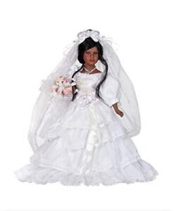 """New 16"""" Golden Keepsakes Porcelain Bride Doll Veil Wedding Ciara Collectible"""