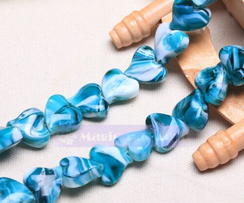 Wholesale Lampwork Glass Loose Heart Shape Charms Spacer Beads Jewelry Making