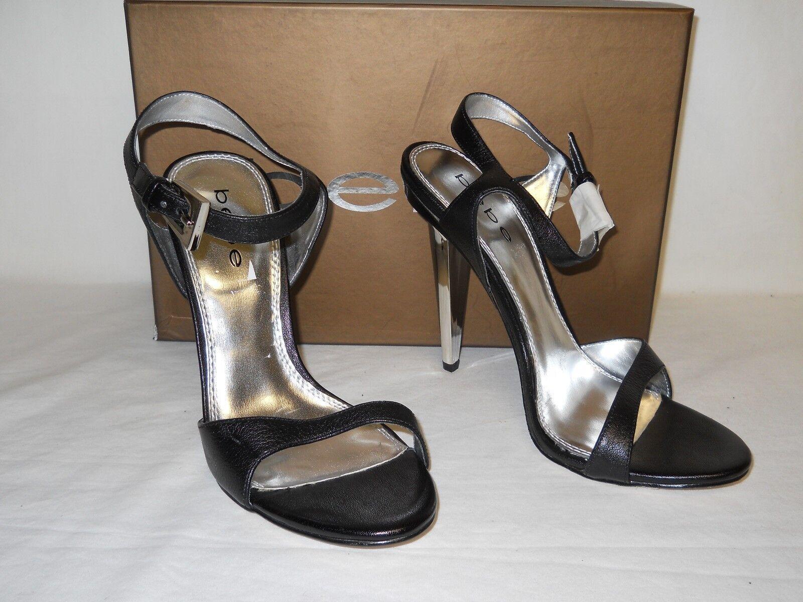 Bebe New Womens Socorro Black Leather Sandals 9 M shoes NWB