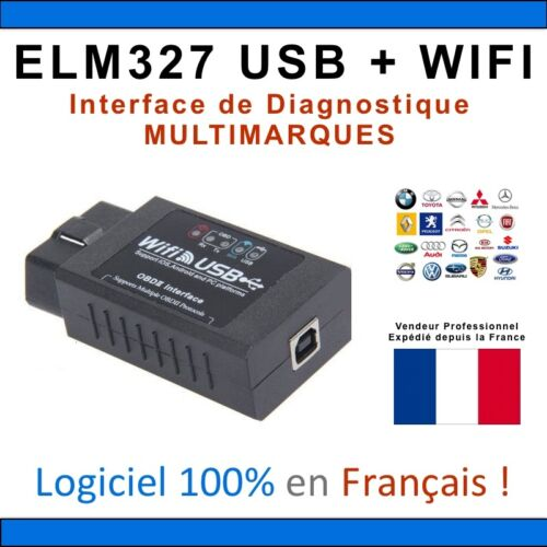IPHONE ANDROID COM MULTIMARQUES WIFI Interface DIAGNOSTIQUE ELM327 USB