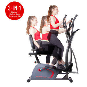 Body Champ 3-in-1 Trio Trainer Elliptical Trainer Recumbent and Upright Bike