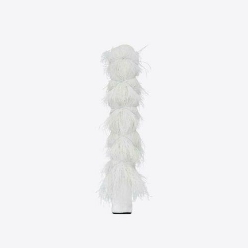 Details about  /Womens Ladies Fashion Ostrich Feather High Heel Knee High Stage Boots shoes #K08