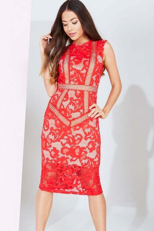 Little Mistress rot Lace Panel Midi Occasion Dress BNWT NEW Multiple Größes