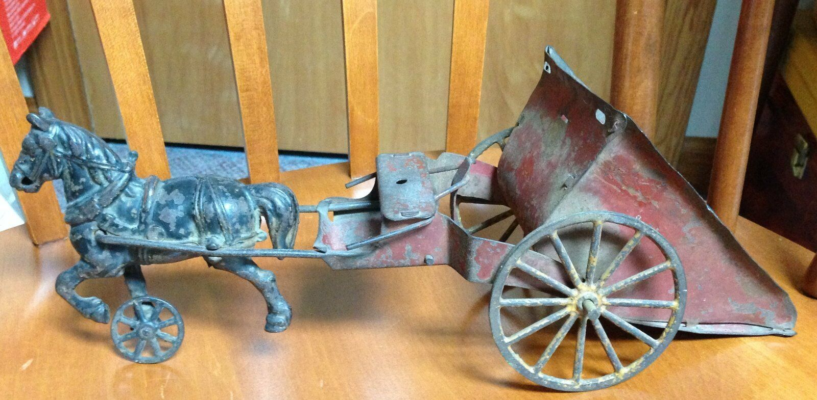 Antique Cast Iron Horse w/ Tin Dump Wagon