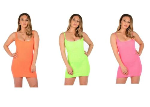 Ladies Bodycon Fitted Mini Dress Spaghetti Straps Neon Green Orange Pink