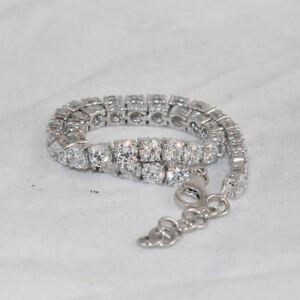 15-00-Carat-Diamond-7-5-034-1-Row-Diamonds-Solid-White-Gold-Finish-Tennis-Bracelet