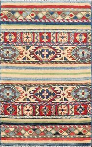 Traditional-Super-Kazak-Handmade-Vegetable-Dye-Oriental-Wool-Area-Rug-2x3-Carpet