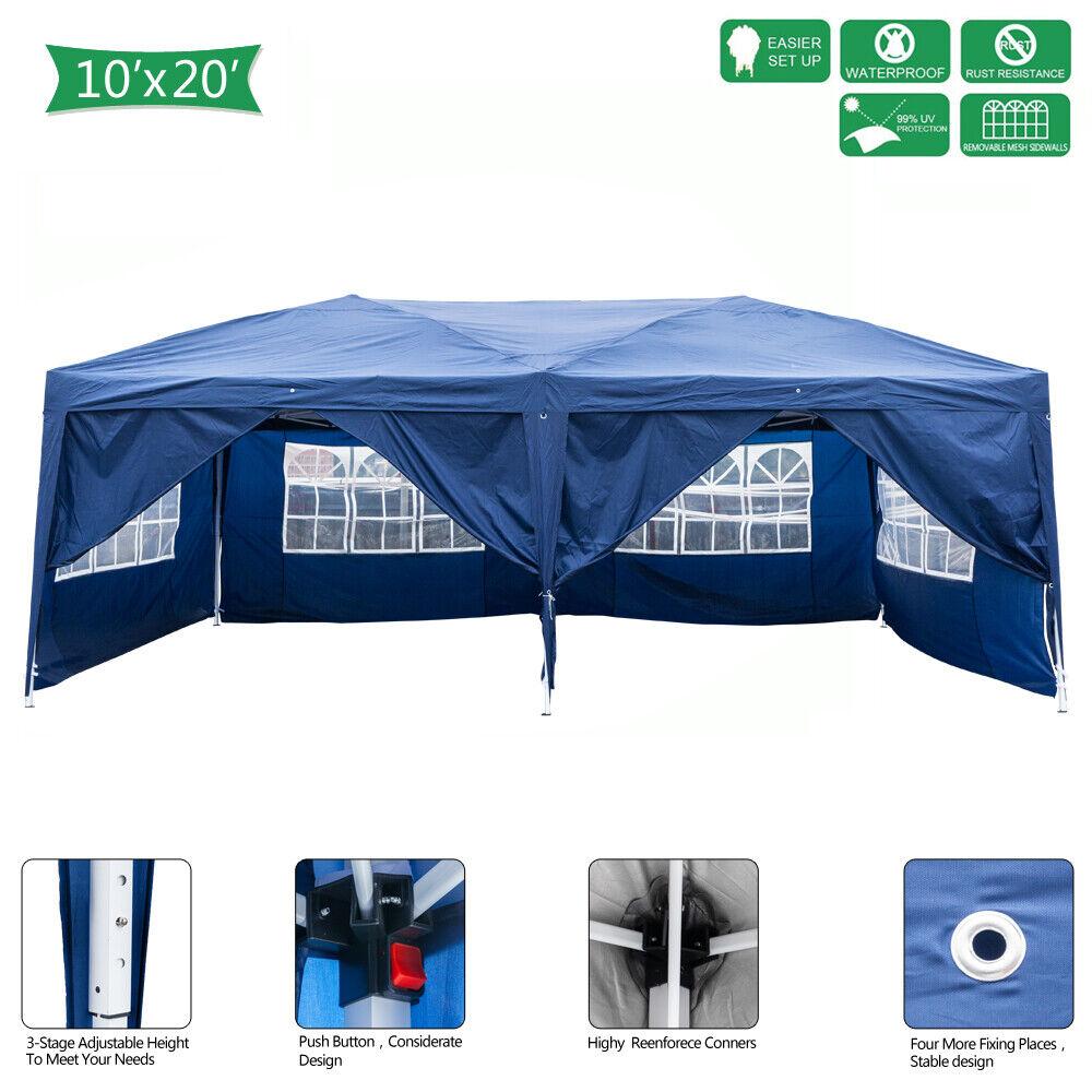 3 x 6m Four Windows Practical Waterproof Folding Tent bluee