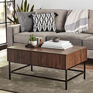 Modern Coffee Table Living Room Walnut Mid Century With Storage