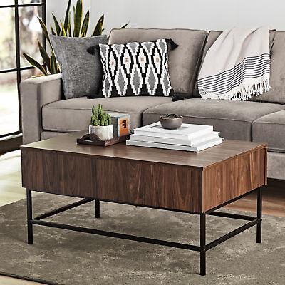 Modern Coffee Table Living Room Walnut Mid Century With Storage  Contemporary 4552163506180   eBay