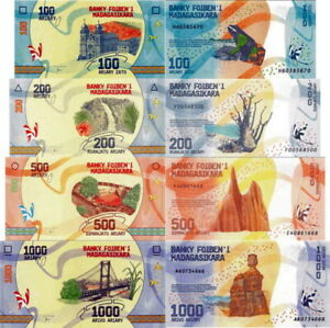 MADAGASCAR-Lotto-4-banconote-100-200-500-1000-Ariary-2017-FDS-UNC