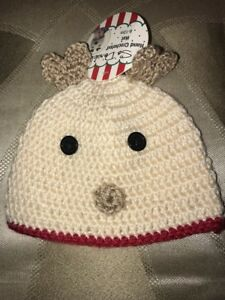 Image is loading So-Adorable-Hand-Crochet-Reindeer-Hat-Christmas-Holiday- f8f3e8f4be6