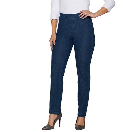 Isaac Mizrahi Live! Petite 24/7 Denim Straight Leg Jeans Medium Indigo P10