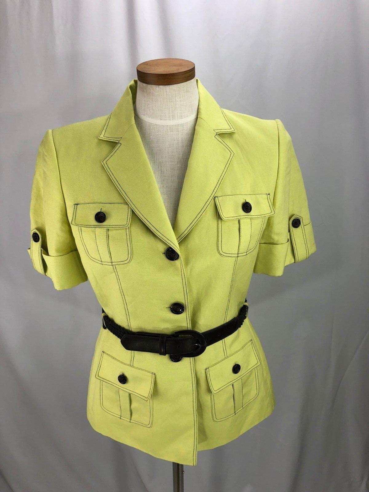 Tahari Women's Green Linen Blend Blazer with Belt 8