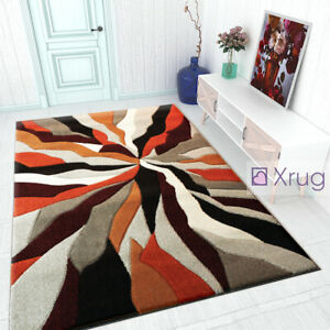 Details About Modern Rug Orange Black Grey Contour Cut Pattern Living Room New Mat Small Large