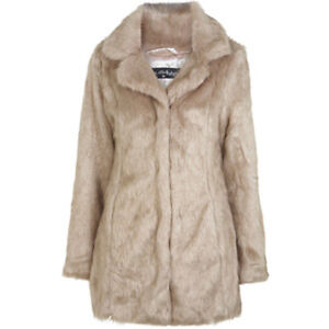 MISS-SELFRIDGE-UK-SIZE-10-12-FAUX-FUR-COAT-BLOND-CARAMEL-JACKET-WOMENS-LADIES