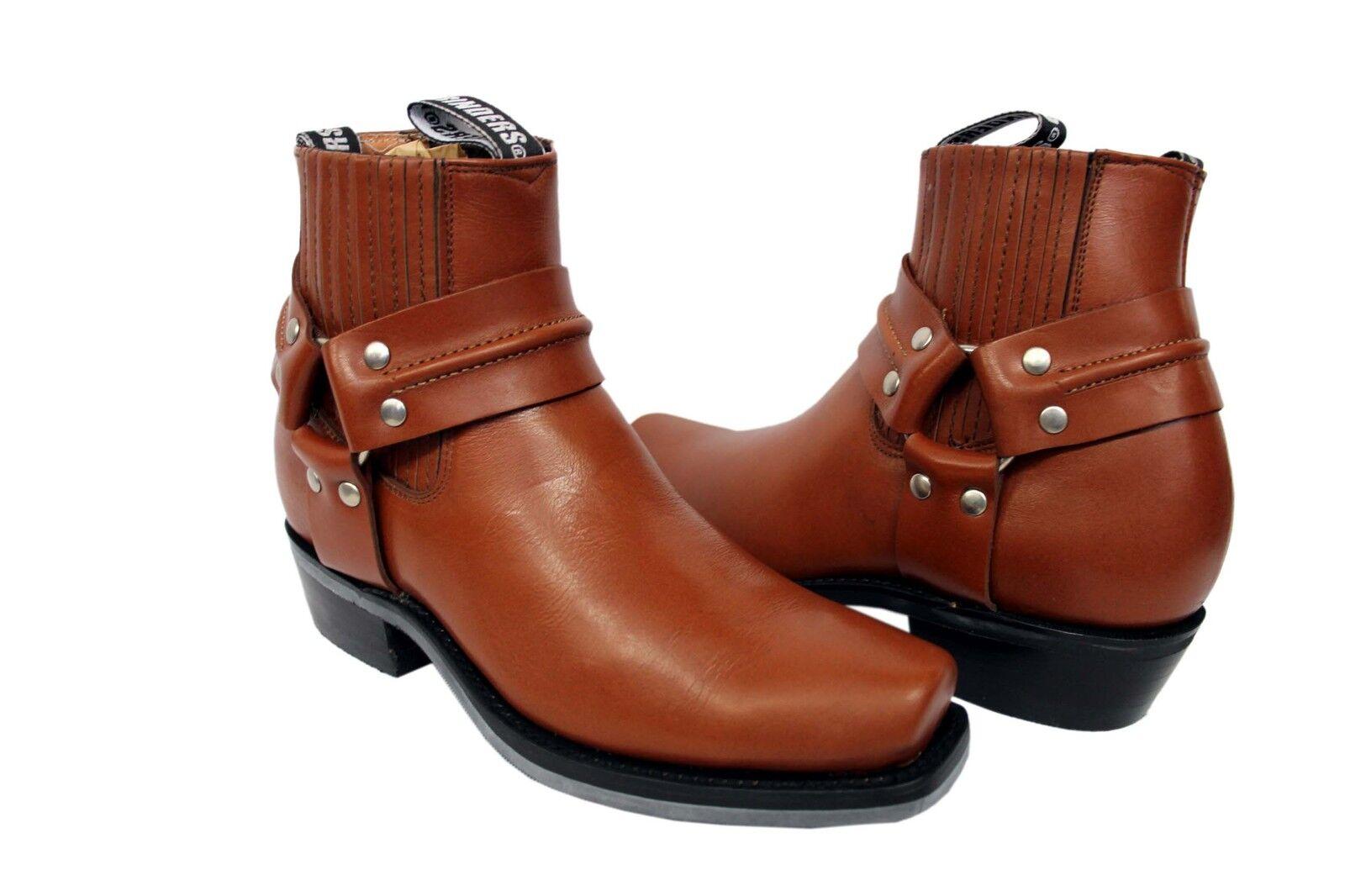 Grinders Renegade lo tan unisexe bottes de cuir cowboy western western western motard cheville bottes   Stocker    D'ornement  cd173a